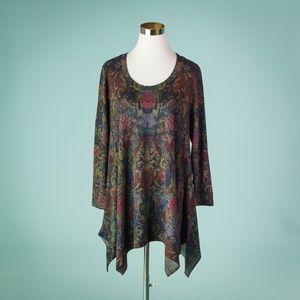Soft Surroundings PL Paisley Scoop Neck Sweater